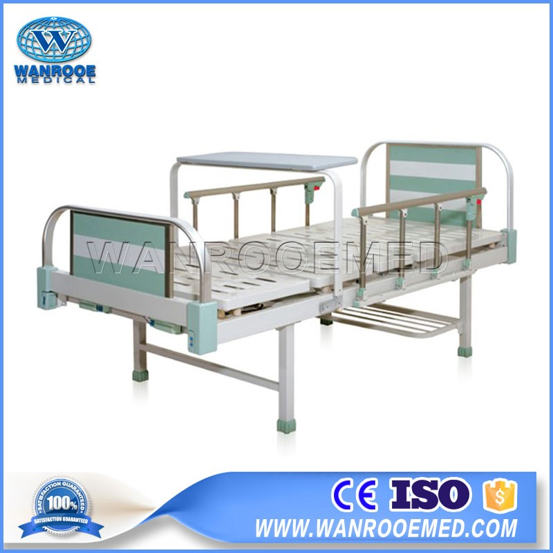 BAM203 Manual Adjustable Double Crank Hospital Patient Bed with L-shaped Guardrail